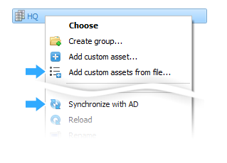AD sync and Add assets from list